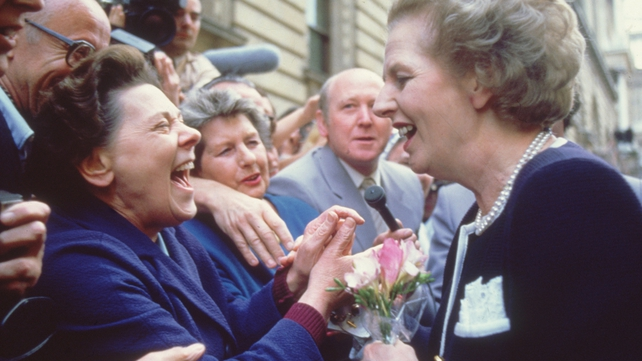 Margaret Thatcher greets the crowds in Downing Street at the start of her third term in office in 1987