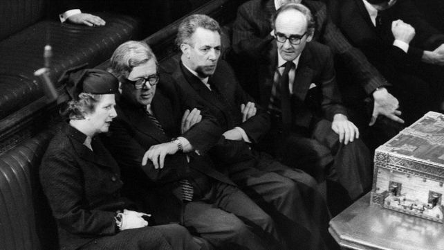 Margaret Thatcher, with Geoffrey Howe, Keith Joseph, John Nott, Norman Tebbit on the Conservative front bench in the House of Commons in 1981