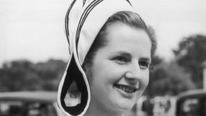 Miss Margaret Roberts attending a garden party at Buckingham Palace, as a Conservative MP in 1950