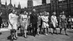 British PM Edward Heath with 13 of the 15 newly elected Conservative women MPs outside the House of Commons in London in 1970
