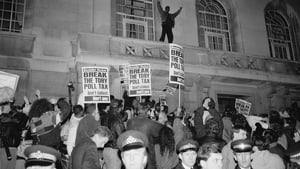 Police and protestors at a demonstration against the Poll Tax, in Hackney, London on 8 March 1990