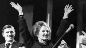 Margaret Hilda Thatcher Conservative Prime Minister celebrating at the Tory Party Conference in 1985