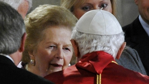 Pope Benedict greets Mrs Thatcher during an address to the Civil Society in the Houses of Parliament in 2010