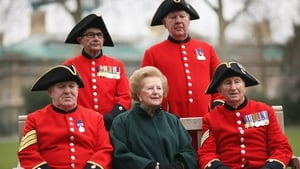 Mrs Thatcher sits with Chelsea Pensioners ahead at the naming of the new Margaret Thatcher Infirmary at the Royal Chelsea Hospital in 2008