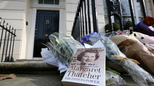 Tributes outside Baroness Thatcher's home in London