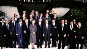 Leaders of the European Community pose in Luxembourg before reaching the basis of a political agreement on Single European Act in 1985