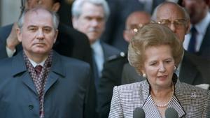 Soviet Leader Mikhail Gorbachev listens to Mrs Thatcher's speech in London on 6 April 1989