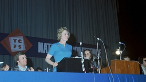 Newly-appointed Conservative Party leader Margaret Thatcher addresses party members in 1975