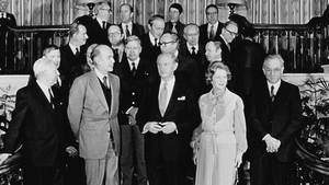 European leaders at an EEC summit in Dublin in 1979 including Taoiseach Jack Lynch, French President Valery Giscard d'Estaing and Margaret Thatcher
