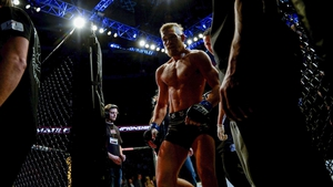 Ireland's Conor McGregor leaves the cage after defeating Marcus Brimage in the UFC gala in Stockholm, Sweden