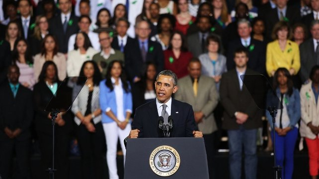 Mr Obama addressed an audience in Hartford, which included relatives of the Newtown massacre