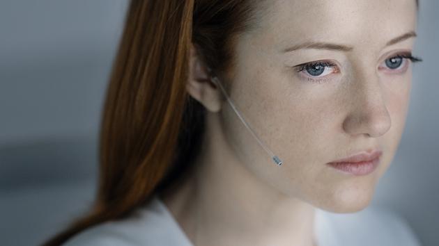 Andrea Riseborough plays the cool, robot-like Vick