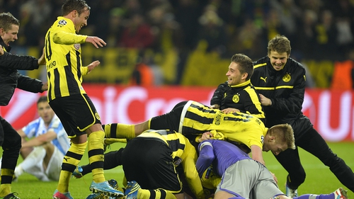 Borussia Dortmund players celebrate their stunning win