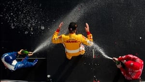Ryan Hunter-Reay gets sprayed with champagne after winning the Honda Indy Grand Prix of Alabama at Barber Motorsports Park