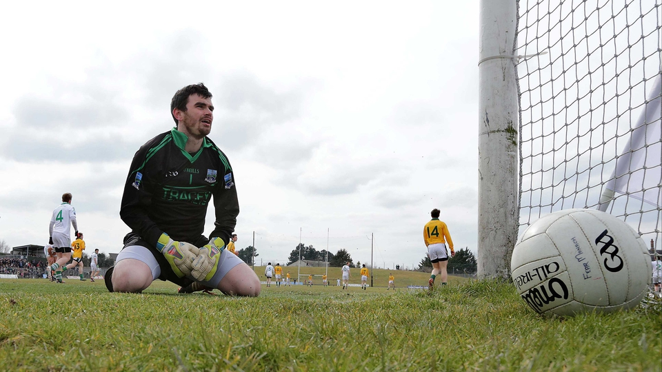 Fermanagh goalkeeper Chris Snow can't stop Michael Newman's penalty for Meath in the Allianz Football league match in Navan