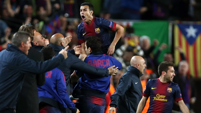 Pedro celebrates after scoring the goal that sent Barcelona into the semi-finals