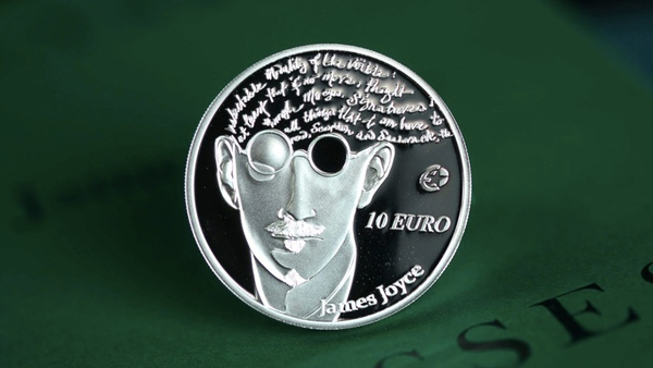 The €10 coin features an image of the writer and a quote from Ulysees which contains an extra word -