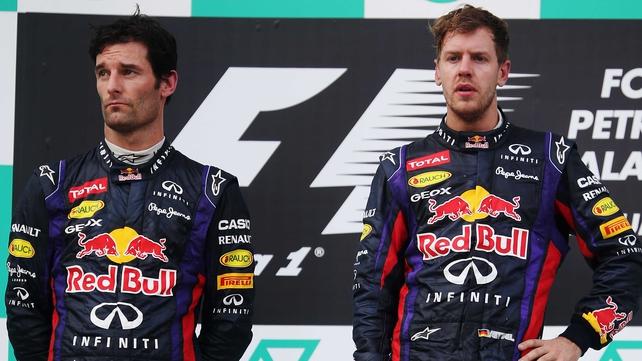Mark Webber and Sebastian Vettel on the podium in Malaysia