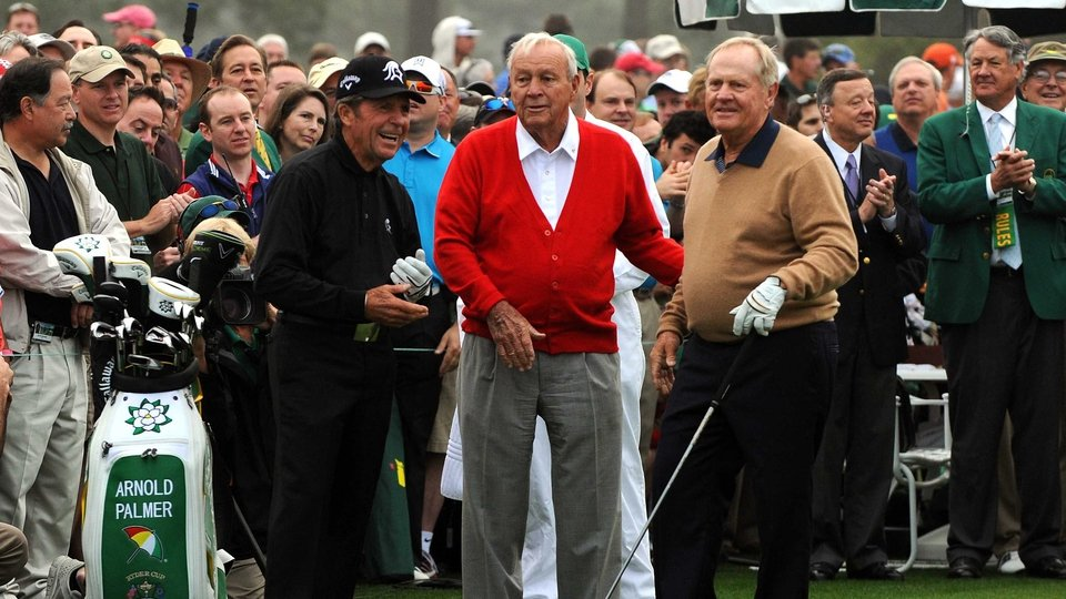 Golf's Big Three, Gary Player, Arnold Palmer and Jack Nicklaus get the 2013 Masters underway