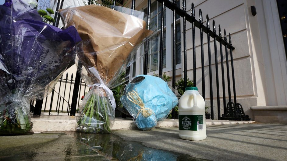 A pint of milk is left outside the residence of Margaret Thatcher in Chester Square in reference to her time as Education Secretary when she imposed spending cuts that included the removal of free milk for the over-sevens in schoo