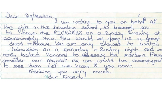 Letter from Boarding School about The Riordans (1977)
