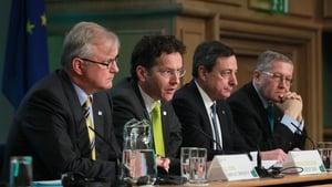 Olli Rehn, Jeroen Dijsselbloem, Mario Draghi and Klaus Regling speak to the media at Dublin Castle