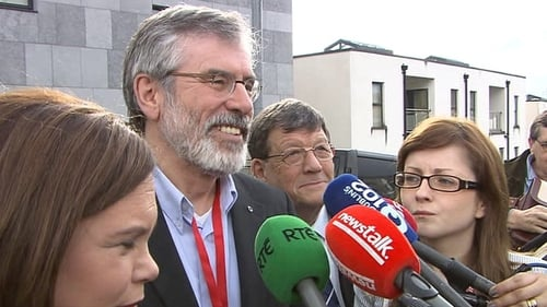 Party leader Gerry Adams speaks to reporters in Castlebar this evening