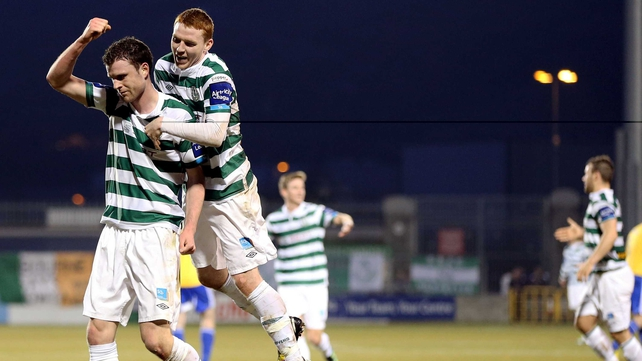 Ciaran Kilduff and Danny Ledwith celebrate as Rovers romped to victory over Bray