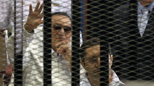Hosni Mubarak appeared briefly in a Cairo court this morning