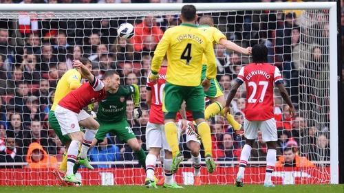 Michael Turner of Norwich City scores