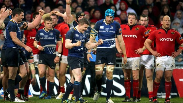 Brian O'Driscoll celebrates Leinster's win at Thomond Park