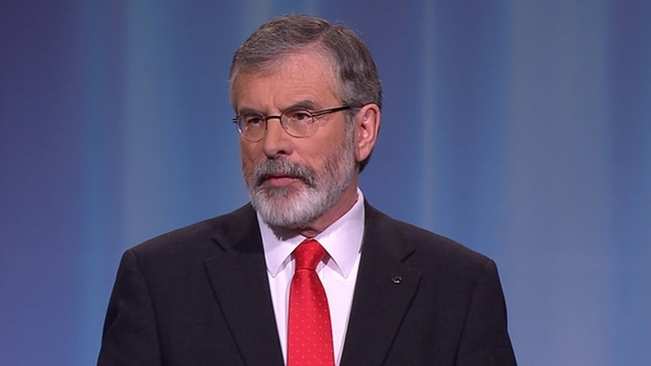 Gerry Adams said Labour should leave Fine Gael to implement the policies of Fianna Fáil