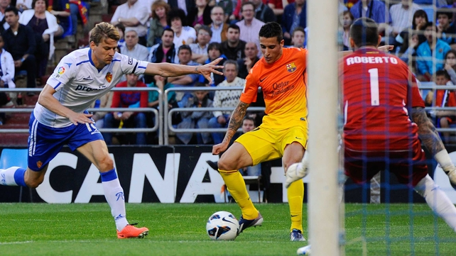 Cristian Tello stood in for Leo Messi with a double for Barcelona against Real Zaragoza