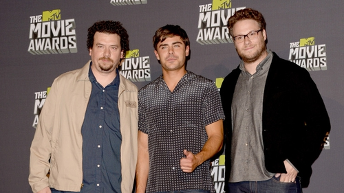 Danny McBride (left) with Zac Efron and Seth Rogen