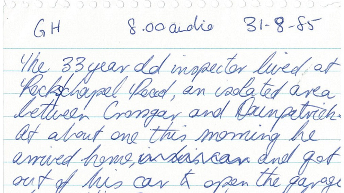 Handwritten News Report 31 August 1985