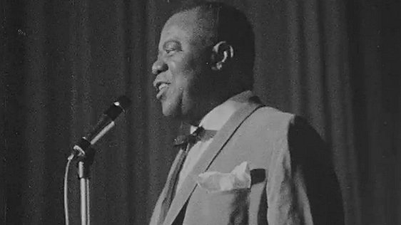 Louis Armstrong on stage at the Adelphi Cinema, Dublin 1967.