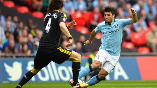 Sergio Aguero (right) will not be punished for a studs-up lunge on David Luiz (left)