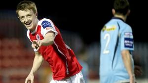 Chris Forrester celebrates his opener against Shelbourne