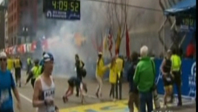 Blasts took place as hundreds of people approached the finishing line of the race