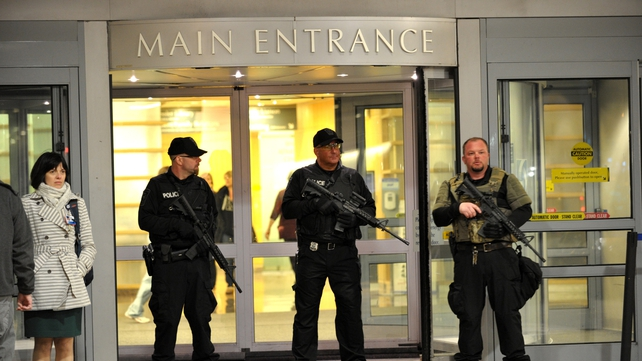 Armed police stand guard outside Brigham and Women's Hospital