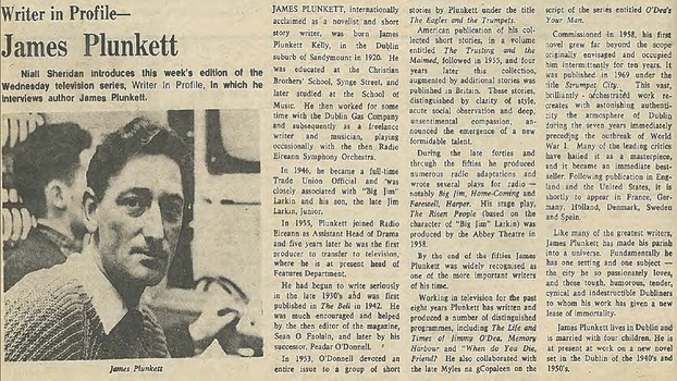 Writer in Profile: James Plunkett  RTÉ Guide, 16 January 1970.