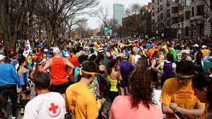 Runners gather after the explosions