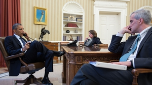 US President Barack Obama talks on the phone with FBI Director Robert Mueller to receive an update on the explosions