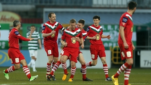 Daryl Kavanagh gets the congratulations from his colleagues after scoring Cork's leveller