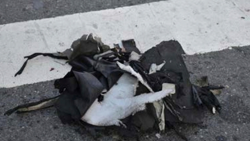 Remains of a black backpack the FBI says contained one of the bombs that exploded during the Boston Marathon