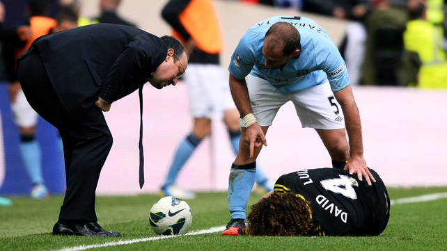 David Luiz and Sergio Aguero clashed in Sunday's FA Cup semi-final