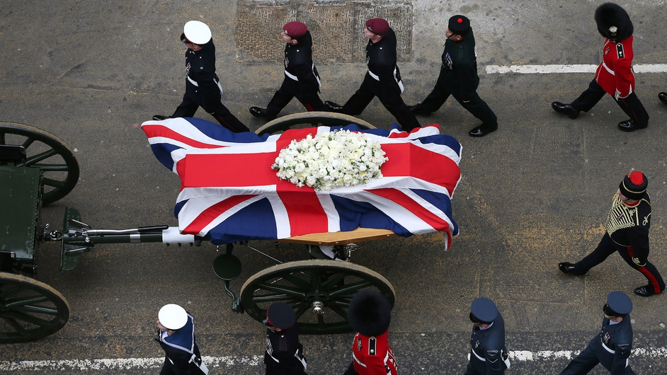 The funeral took place of Britain's first woman prime minister Margaret Thatcher in London