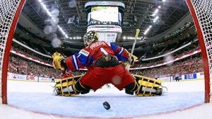 Russia goaltender Anna Prugova lets in goal number five during the second period of the IIHF Women's World Championship semi-final against Canada