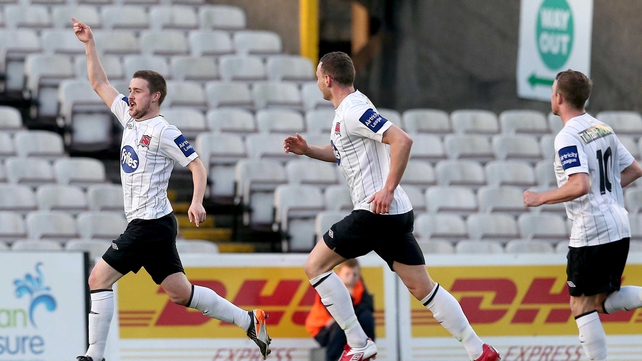 Tiarnan Mulvenna celebrates after scoring Dundalk's opener