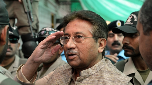 There were chaotic scenes as Pervez Musharraf arrived in court